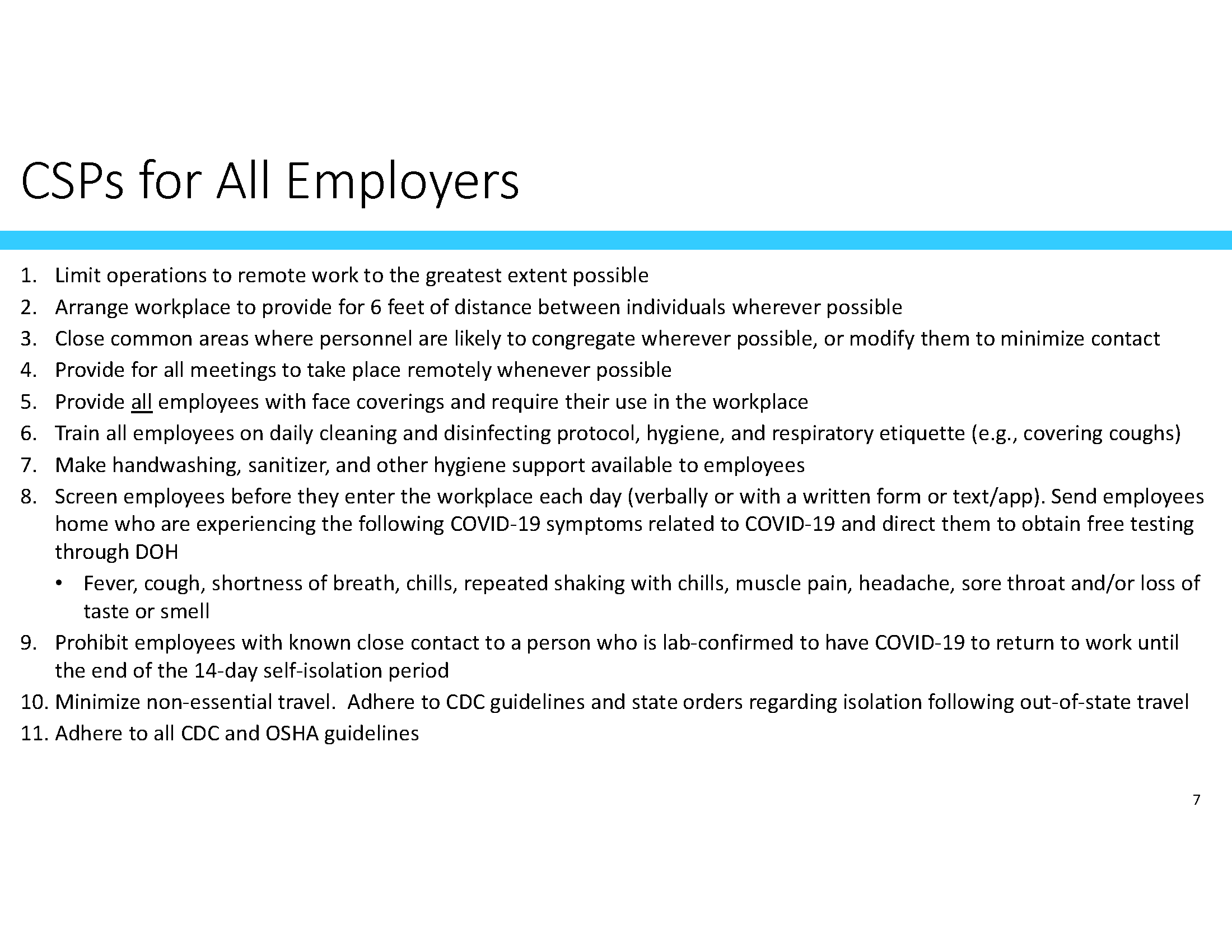 CSP for all employers